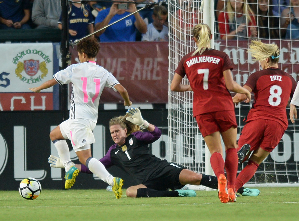 . USA keeper Alyssa Naeher (1) makes a diving save against Japan\'s Mina Tanaka (11) in the first half of the final womens soccer game of the Tournament of Nations at the StubHub Center Thursday, August 03, 2017, Carson, CA.  USA held a 1-0 lead at halftime. (Photo by Steve McCrank, Daily Breeze/SCNG)