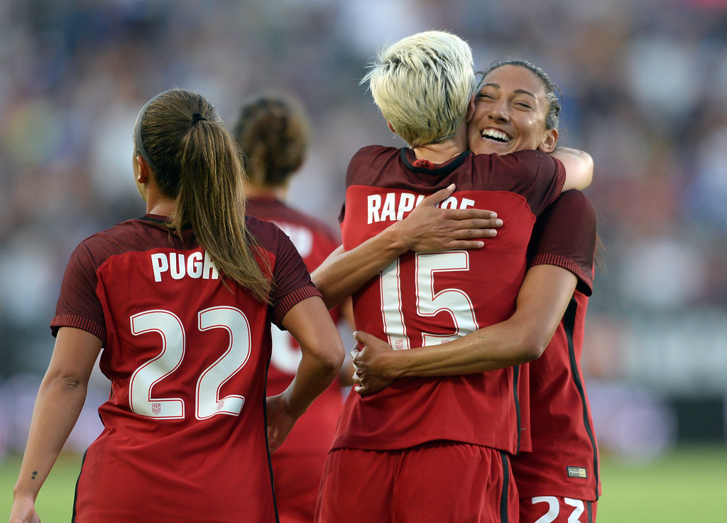 . USA\'s Megan Rapinoe (15) is hugged by Christen Press (23) after Rapinow scored a goal on Japan in the final womens soccer game of the Tournament of Nations at the StubHub Center Thursday, August 03, 2017, Carson, CA.  USA held a 1-0 lead at halftime. (Photo by Steve McCrank, Daily Breeze/SCNG)