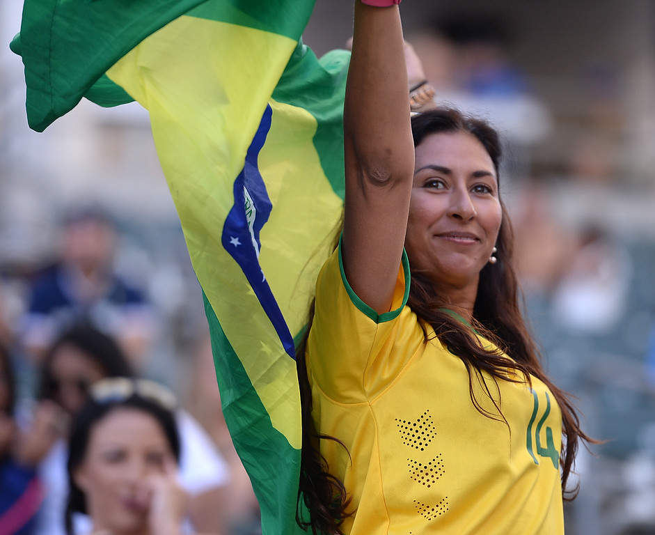 . Brazil fans cheer and wave the country\'s flag as they play Australia in the final soccer game of the Tournament of Nations at the StubHub Center Thursday, August 03, 2017, Carson, CA.  Australia won 6-1 and the win gives them the tournament title. (Photo by Steve McCrank, Daily Breeze/SCNG)