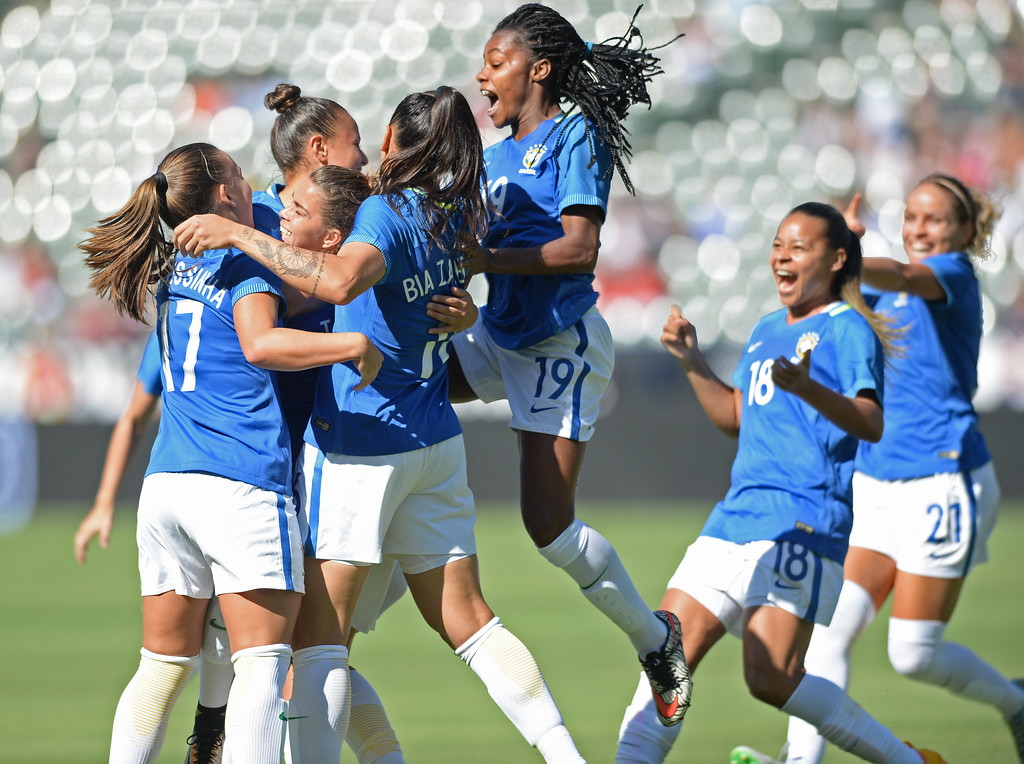 . Brazil\'s Camila (20) is mobbed by teammates after scoring an early goal on Australia in the final soccer game of the Tournament of Nations at the StubHub Center Thursday, August 03, 2017, Carson, CA.  Australia won 6-1 and the win gives them the tournament title. (Photo by Steve McCrank, Daily Breeze/SCNG)