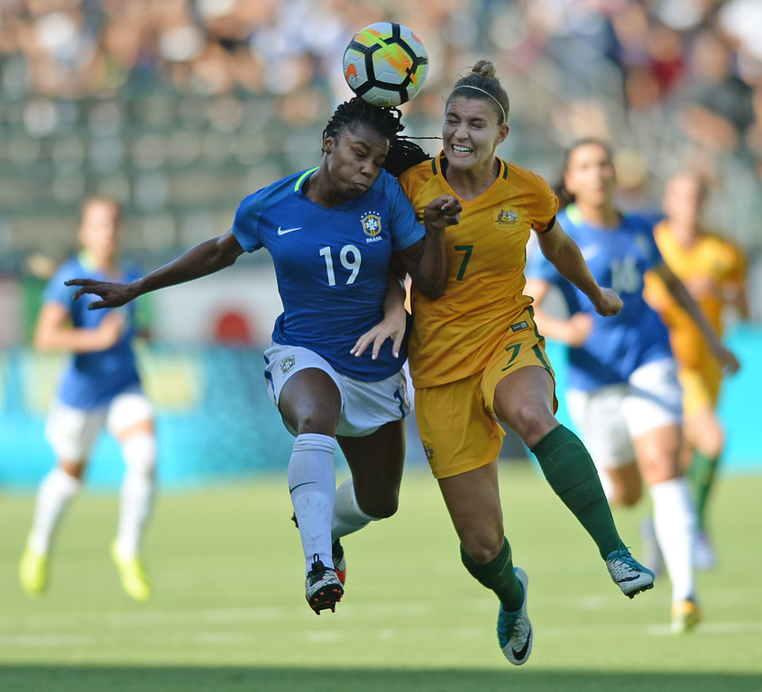 . Australia\'s Steph Catley (7) and Brazil\'s Ludmila (19) battle each other for the ball in the final soccer game of the Tournament of Nations at the StubHub Center Thursday, August 03, 2017, Carson, CA.  Australia won 6-1 and the win gives them the tournament title. (Photo by Steve McCrank, Daily Breeze/SCNG)