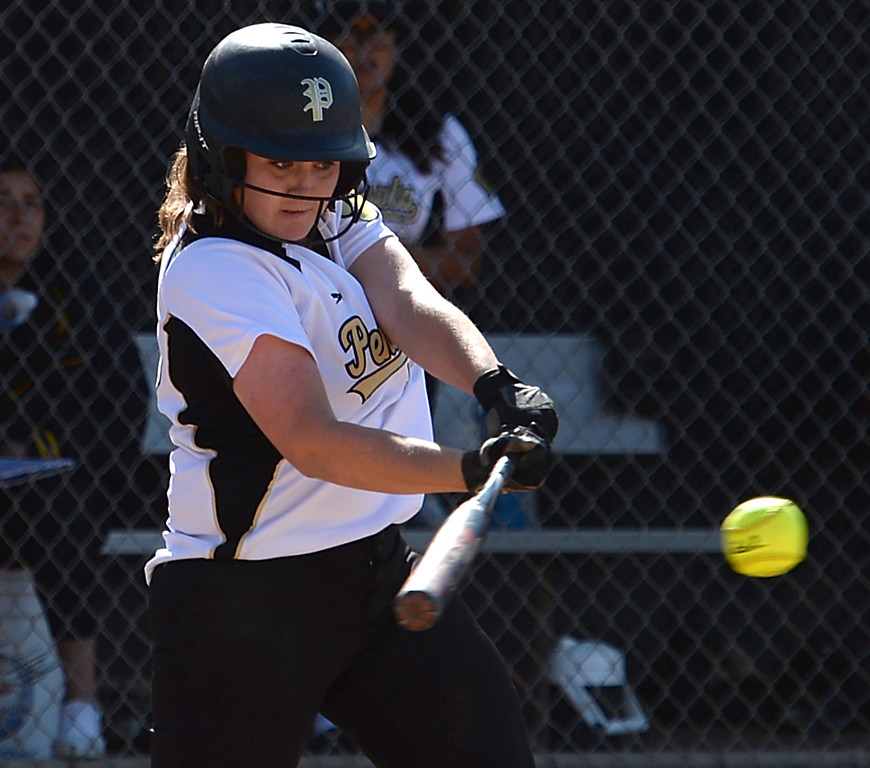. Peninsula\'s Jenna Henry (16) connects with a Redondo pitch to drive runs home and tie the score in a Bay League softball game Wednesday, April 19, 2017, Rolling Hills Estates. (Photo by Steve McCrank, Daily Breeze/SCNG)