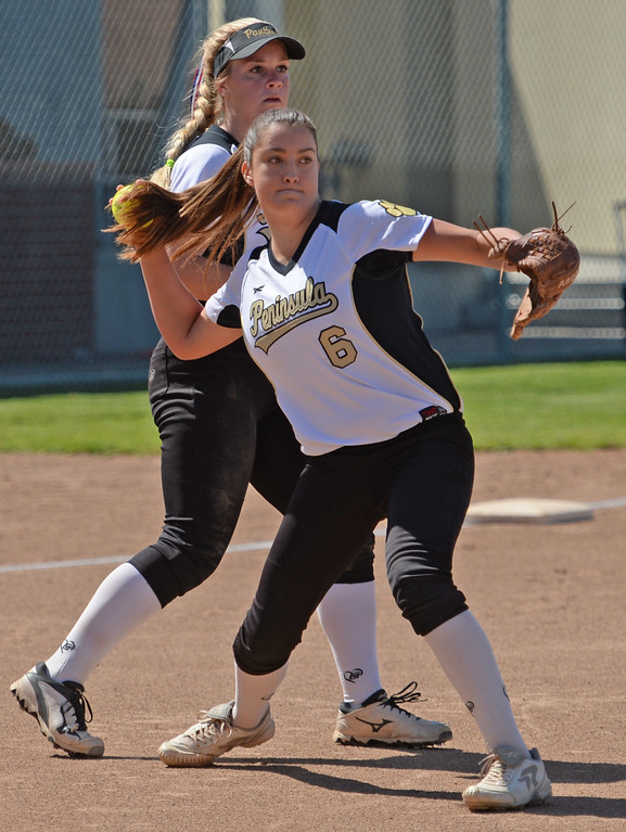 . Peninsula\'s Madison Denton (6) rockets a throw to first for an out on Redondo in a Bay League softball game Wednesday, April 19, 2017, Rolling Hills Estates. (Photo by Steve McCrank, Daily Breeze/SCNG)