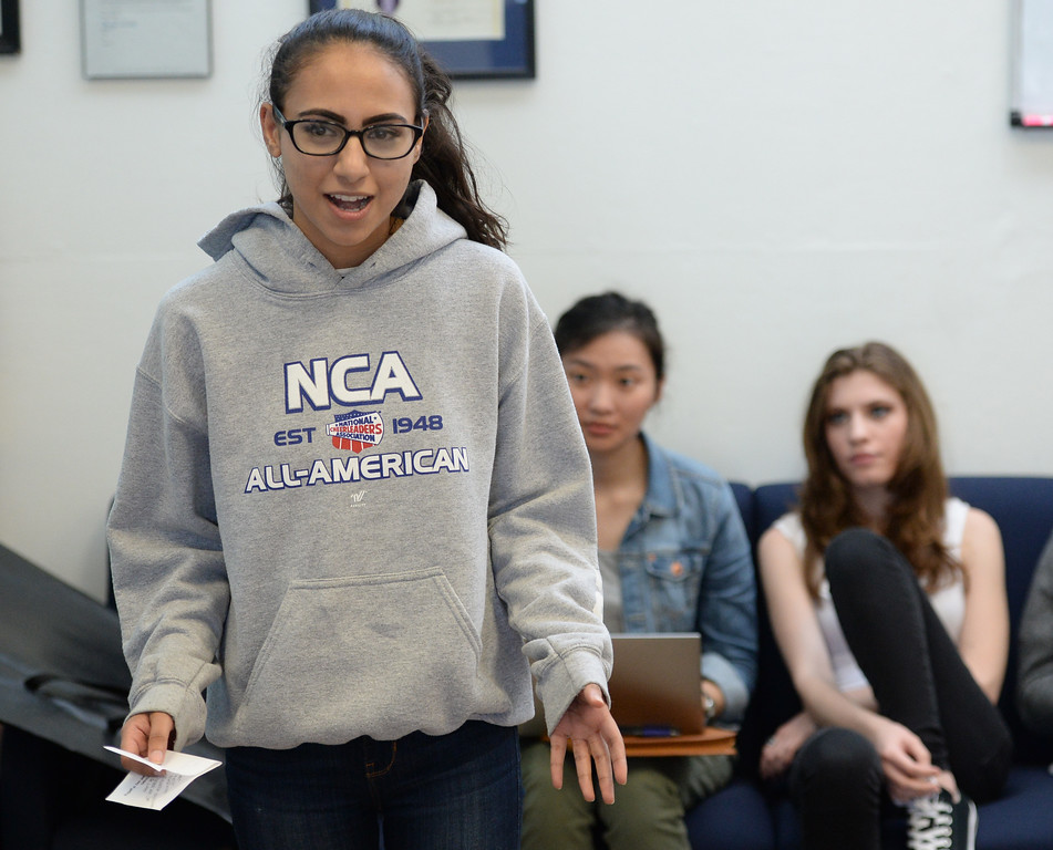 . The El Camino College speech and debate team is looking to win three national titles this year  Monday, March 13, 2017, Torrance, CA.   Zara Andrabi, one of the top debaters in the country, does an exercise where she is given a topic and has two minutes to prepare her speech. Photo by Steve McCrank, Daily News/SCNG