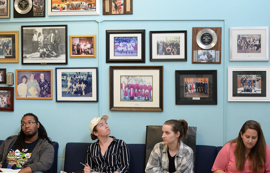 . The El Camino College speech and debate team is looking to win three national titles this year  Monday, March 13, 2017, Torrance, CA.   Team photos and awards adorn the wall of the classroom where the students meet. Photo by Steve McCrank, Daily News/SCNG
