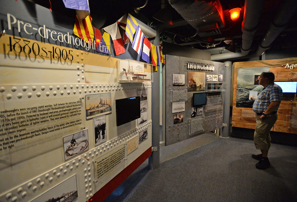 . Battleship IOWA will unveil its latest exhibit Battleship FLIGHT which features a restored Piasecki HUP-2 helicopter as well as other exhibits below deck.  The new exhibits contain, artifacts, paintings, models and informative displays. Tuesday, June 20, 2017, San Pedro, CA.   (Photo by Steve McCrank, Daily Breeze/SCNG)