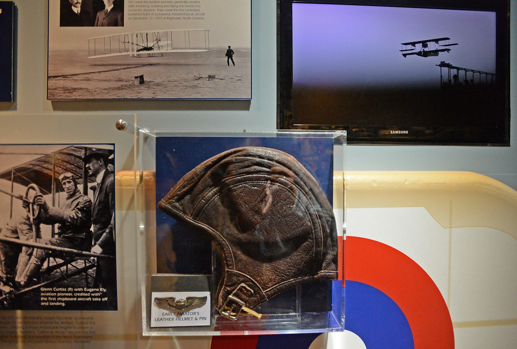 . Battleship IOWA will unveil its latest exhibit Battleship FLIGHT which features a restored Piasecki HUP-2 helicopter as well as other exhibits below deck.  A leather flight cap from the early days of aviation is on display. Tuesday, June 20, 2017, San Pedro, CA.   (Photo by Steve McCrank, Daily Breeze/SCNG)