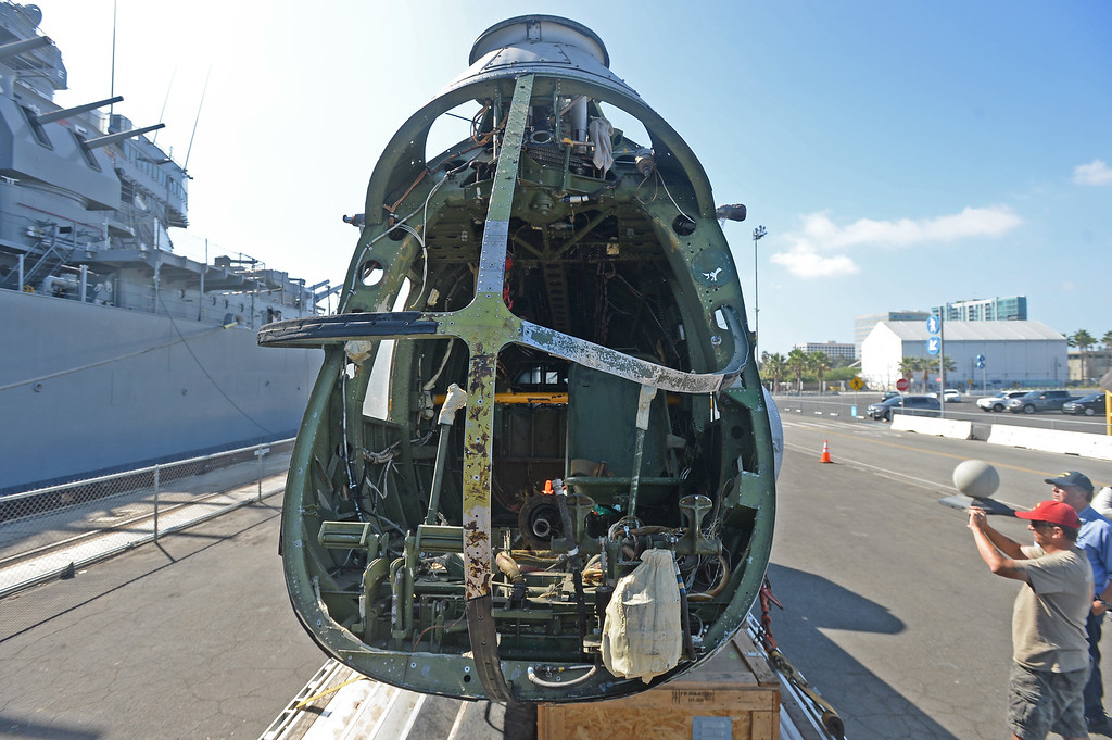 . A HUP2 helicopter from the Korean War era will be restored and then displayed on the deck of the USS Iowa in San Pedro.  This particular helicopter was then sold to the French and used in their Vietnam War. Tuesday, October 18, 2016, San Pedro, CA.    Photo by Steve McCrank, Daily Breeze/SCNG