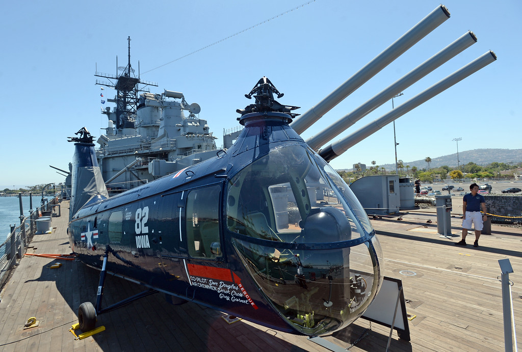 . Battleship IOWA will unveil its latest exhibit Battleship FLIGHT which features this restored Piasecki HUP-2 helicopter (still missing its rotors); as well as other exhibits below deck. The helicopter is rare and saw service in Korea as well as Vietnam. Tuesday, June 20, 2017, San Pedro, CA.   (Photo by Steve McCrank, Daily Breeze/SCNG)