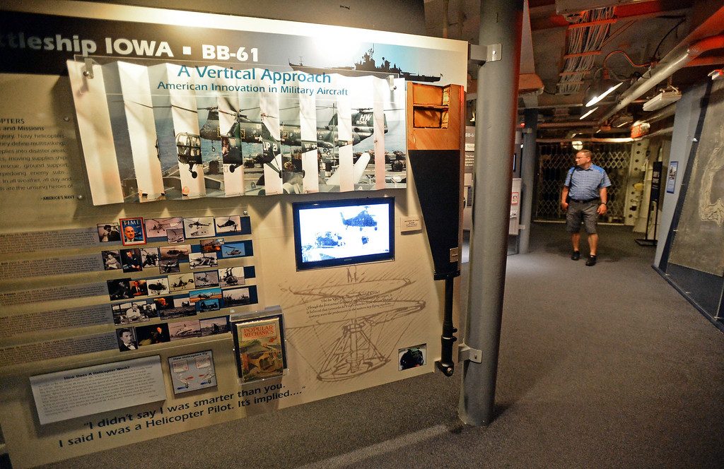 . Battleship IOWA will unveil its latest exhibit Battleship FLIGHT which features a restored Piasecki HUP-2 helicopter as well as other exhibits below deck. Tuesday, June 20, 2017, San Pedro, CA.   (Photo by Steve McCrank, Daily Breeze/SCNG)