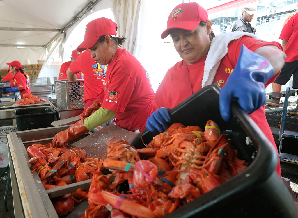 . The 19th Annual Port of Los Angeles Lobster Festival was held by the Battleship Iowa Saturday, July 15, 2017, San Pedro, CA.  Lobsterfest participants were able to purchase a Maine lobster and partake in a fairway, music, and shopping. Steaming from the pot, crew members prepare to serve the lobsters. (Photo by Steve McCrank, Daily Breeze/SCNG)