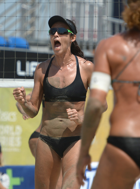 . Brazilian Talita Antunes is pumped as she and teammate Larissa Franca near a quarterfinal win over Germans Chantal Labourer and Julia Sude in World Series of Beach Volleyball Friday, July 14, 2017, Long Beach, CA.   (Photo by Steve McCrank, Daily Breeze/SCNG)