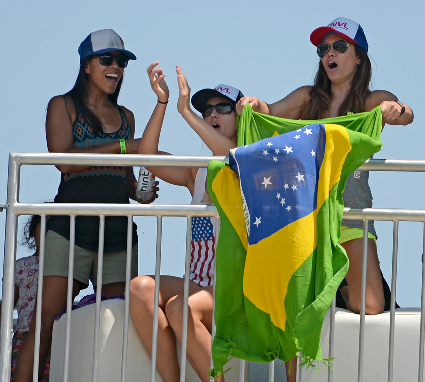 . Brazilian fans were in abundance during the World Series of Beach Volleyball Friday, July 14, 2017, Long Beach, CA.   (Photo by Steve McCrank, Daily Breeze/SCNG)