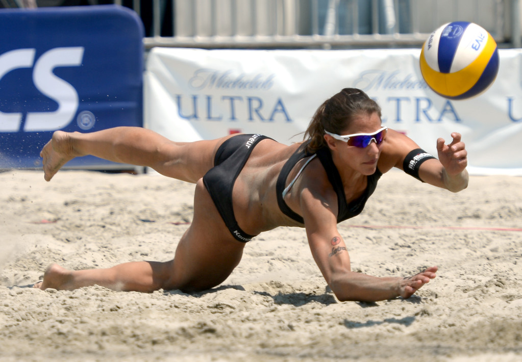 . German Chantal Labourer dives for the ball but comes up just short  in quarterfinals of World Series of Beach Volleyball Friday, July 14, 2017, Long Beach, CA.  Labourer and Julia Sude lost to Brazilians Larissa and Talita. (Photo by Steve McCrank, Daily Breeze/SCNG)