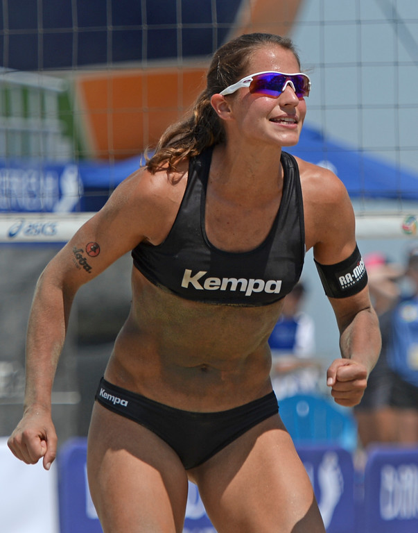 . German Chantal Labourer celebrates a point in quarterfinals World Series of Beach Volleyball Friday, July 14, 2017, Long Beach, CA.   (Photo by Steve McCrank, Daily Breeze/SCNG)