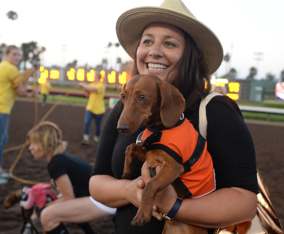 . Julie Woods holds the defending champion Darcy after Darcy won her heat in the 22nd Wienerschnitzel Wiener Nationals at Los Alamitos Race Course Saturday, July 22, 2017, Los Alamitos, CA.  (Photo by Steve McCrank, Daily Breeze/SCNG)