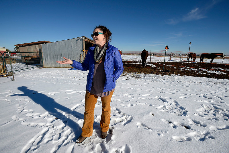 Standing on the farm she owns and used to live on west of Berthoud, Maureen McDonough talks Tuesday, Jan. 17, 2017, about why she moved from the farm after it was questionable whether or not Larimer County code allowed her to farm there. (Photo by Jenny Sparks/Loveland Reporter-Herald)