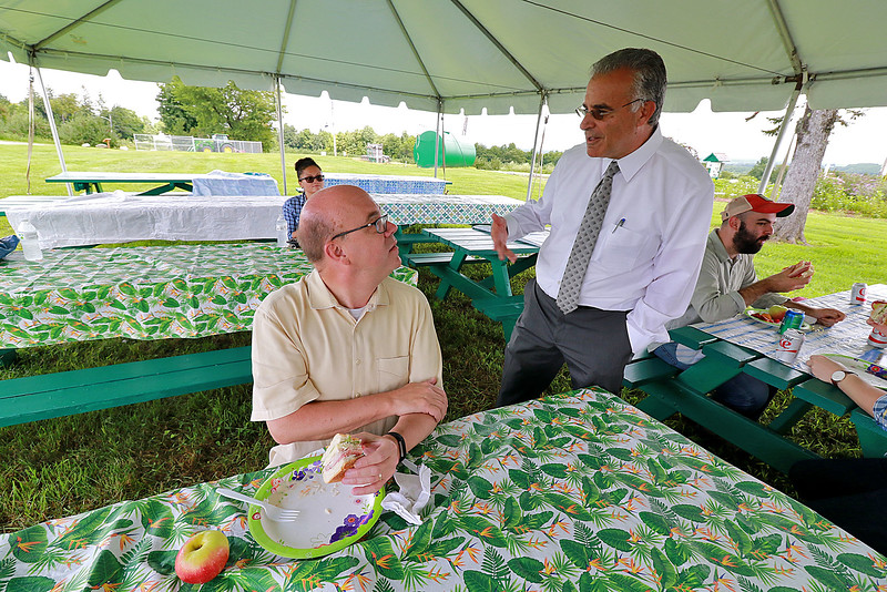 U.S. Congressman Jim McGovern was in the area on Wednesday doing his 2018 Farm Tour. He was discussing the 2018 farm bill and highlighting the uncertainty facing farmers following President Donald Trump's Administration's Tariffs. McGovern visited Sholan Farms in Leominster around noon during his tour. Mayor Dean Mazzarella and McGovern talk about the farm at a luncheon after a tour of land. SENTINEL & ENTERPRISE/JOHN LOVE