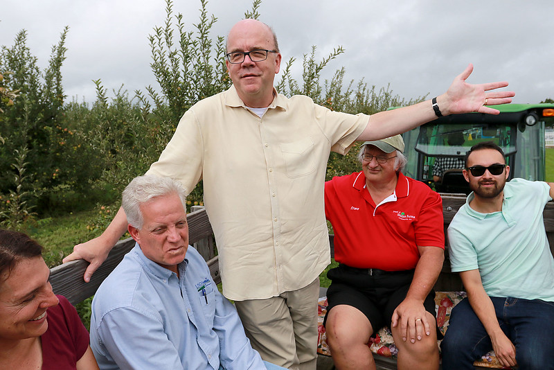 U.S. Congressman Jim McGovern was in the area on Wednesday doing his 2018 Farm Tour. He was discussing the 2018 farm bill and highlighting the uncertainty facing farmers following President Donald Trump's Administration's Tariffs. McGovern visited Sholan Farms in Leominster around noon during his tour. McGovern, standing, listens to Sholan Farms President Joanne Dinardo as she give a tour of the farm to the congressman and other state and local officials during the his visit.SENTINEL & ENTERPRISE/JOHN LOVE
