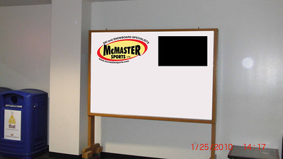 "This is the McMaster Athletic Centre Community Board re-styled with a McMaster Sports logo'ed banner with the proposed LCD display (~ 26"" to scale)."