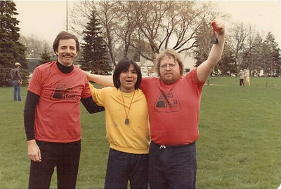 The tree musketeers (or should I say stooges) that started McMaster Sports.  Here, we ran as a team at the 10th Annual  Burlington Road Race.  Since the Burlington Runners Club started in 1973, it can be estimated that this picture is circa 1983.  McMaster Sports was the dominant running shop in the Hamilton-Burlington area.  At the races, our entered elite teams would win many of the races.