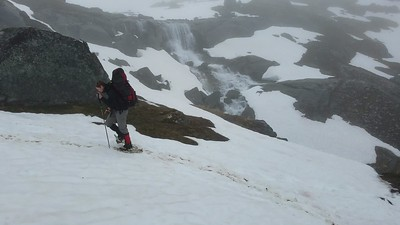walking snowshoes waterfall
