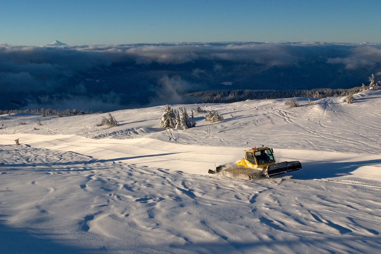 A photo of me, grooming along in a snowcat, making corduroy passes on a lovely morning.<br /> <br /> © Steve Warila<br /> <br /> Location: Nate's Other Way, Mt. Hood Meadows ski area, Oregon