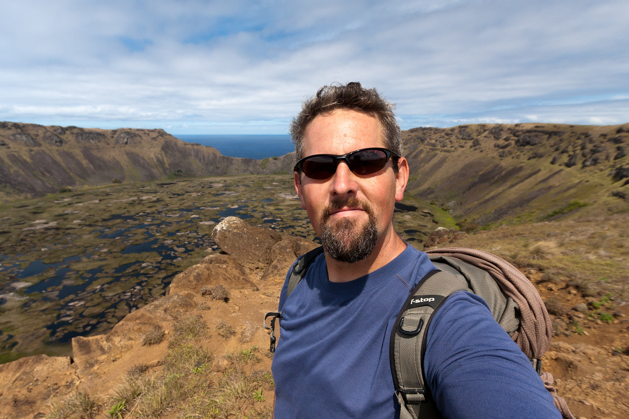 Self-portrait at Rano Kau crater.<br /> <br /> Location: Easter Island (Rapa Nui), Chile<br /> <br /> Lens used: Canon 10-22mm f3.5-4.5
