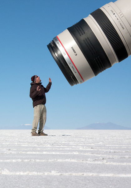 Rob learns what it's like under the microscope.<br /> <br /> Location: Solar de Uyuni, Bolivia<br /> <br /> Lens used: Canon 17-55mm f2.8 IS