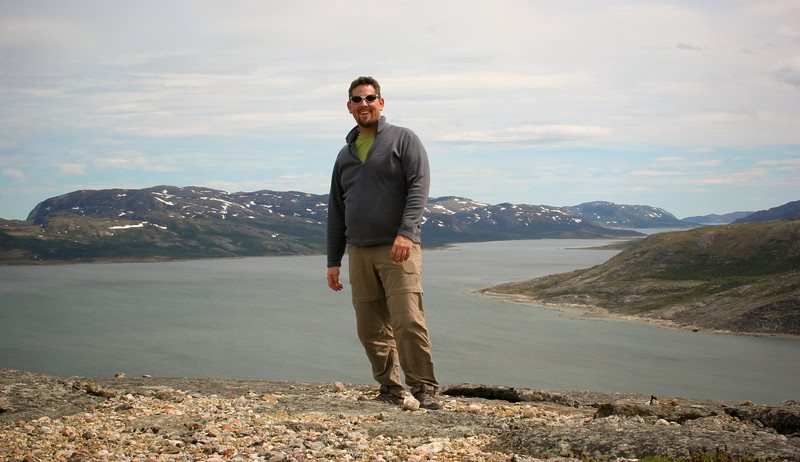 Me and my bulging gut atop a hill just outside and above town.  <br /> <br /> The ferry was only docked for about 3hrs here, so I didn't have much time to explore - hiking up this hill was about as far as I got.<br /> <br /> Location: Nain, Labrador, Canada<br /> <br /> Lens used: 17-40mm f4.0