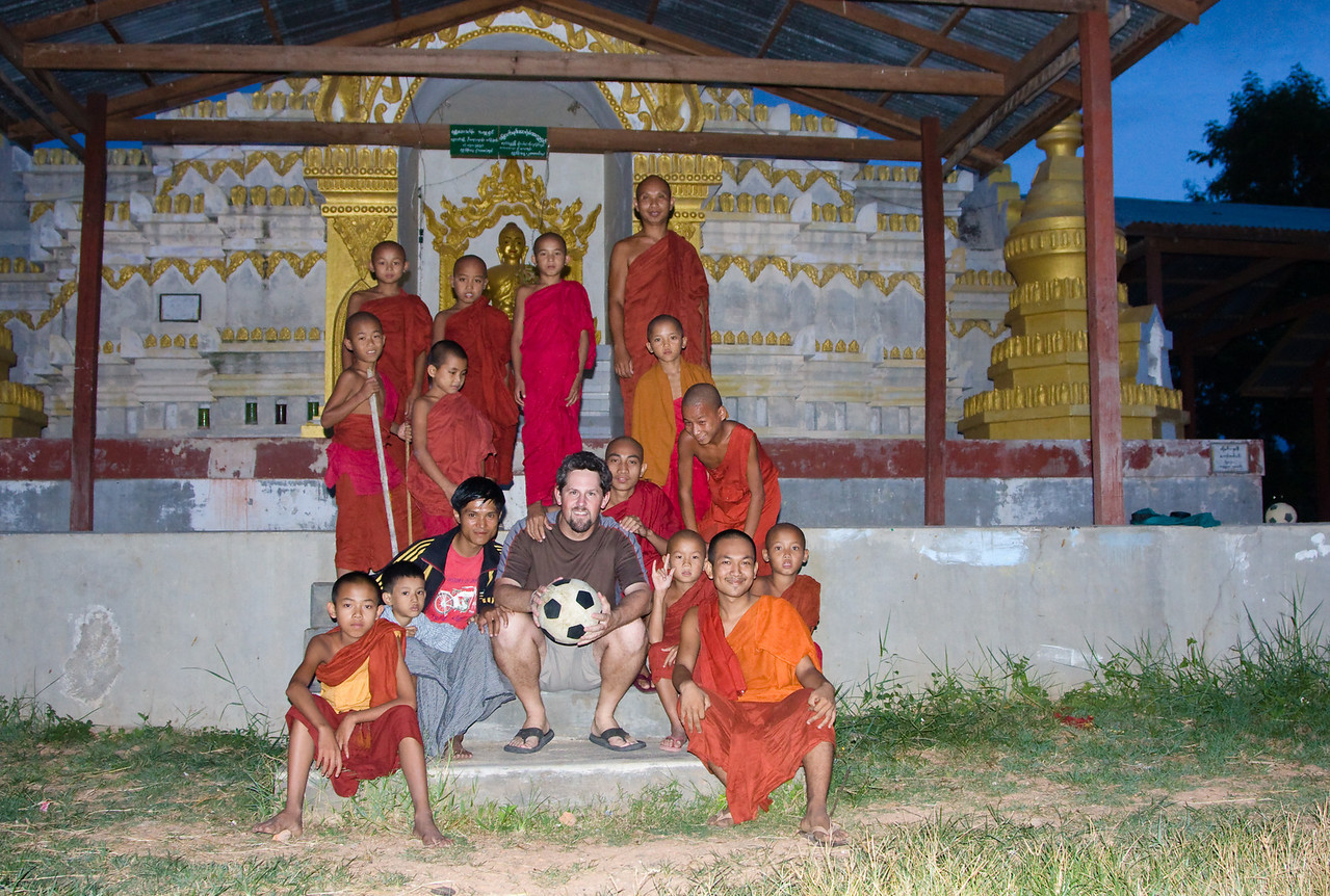 Posing with local monks in their monastery after an agro game of football.<br /> <br /> Location: Nyaungshwe, Myanmar<br /> <br /> Lens used: 24-105mm f4.0 IS