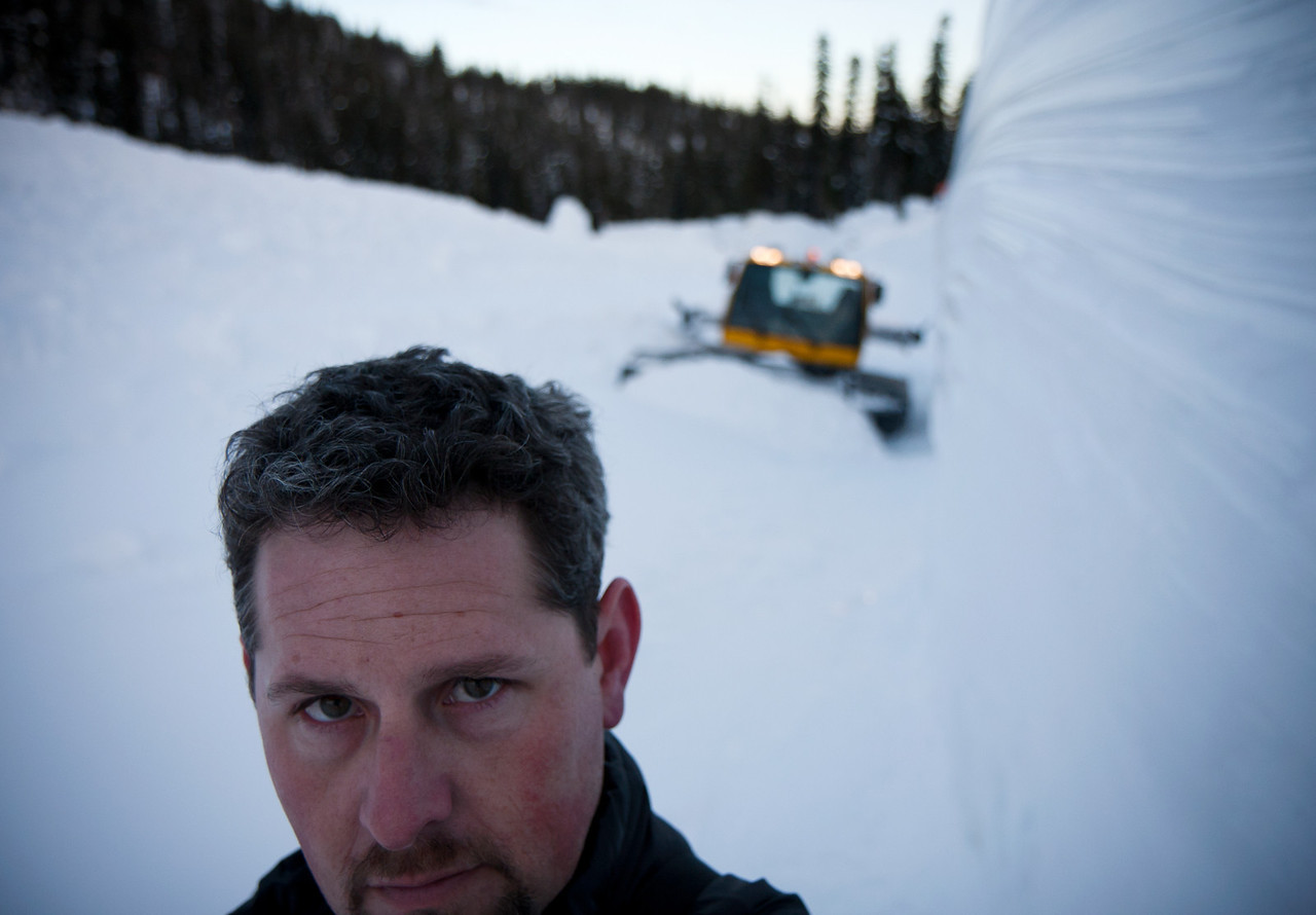 A self-portrait of moi amongst the deposition piles and 25' ice cut-walls the day following the massive avalanche which devastated The Canyon.<br /> <br /> Location: Heather's Backdoor, Heather Canyon, Mt. Hood Meadows ski resort<br /> <br /> Lens used: Canon 17-55mm f2.8 IS