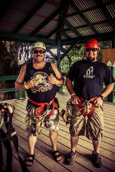 Preparing to zipline with mi bredren