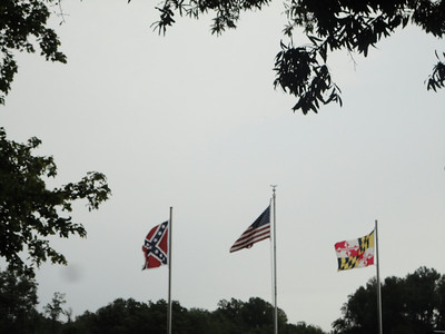 At the Mudd House--the U.S., Maryland ... and Confederate flags.