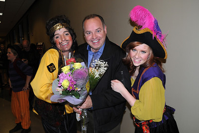 Kyle Stengel and Katie Hennen greet 'the star' after their performance in The Pirates of Penzance.  11/17/2012