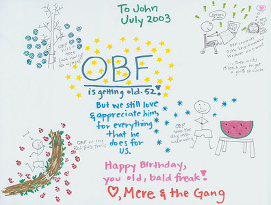 B'day card 2003 Mere Fraser style. OBF = Old Bald Freak.