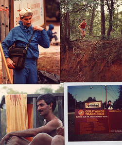 More run related. Top left - timing at early 80s Tallahassee Ultra, Wakulla Springs. Top right, running with Kent Vann and Darien Andreu south of Thomasville, GA. Bottom right - ?, early 80s. Bottom right, GWTC sign for FSU track, ~'83. Photo credits?