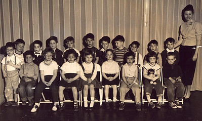 Nursery School 1955. 4th from left, with bowtie.