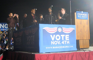A jazz group performing for the crowd.  Most folks waited over 5 1/2 hours before Obama began his remarks; it took me 3 1/2 hours to drive there from Takoma Park and I stood 3 rows back from the stage for almost 4 hours before Obama's appearance.  Well worth the wait!
