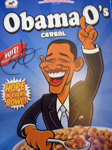 My Obama-O's--and yes, you see it!  Not only did I brush hands with the man as he passed by after his speech, a staffer thought the Senator would enjoy seeing the cereal box and took it to him for his autograph!