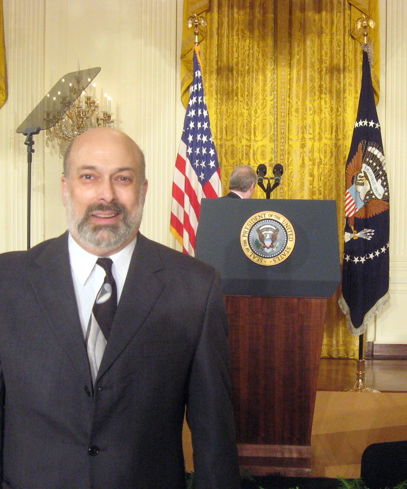 The President was late so I took a turn near the podium ...