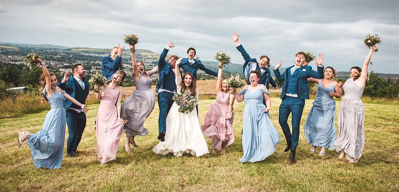 Cronkshaw Fold Farm- Fun bridal party shot