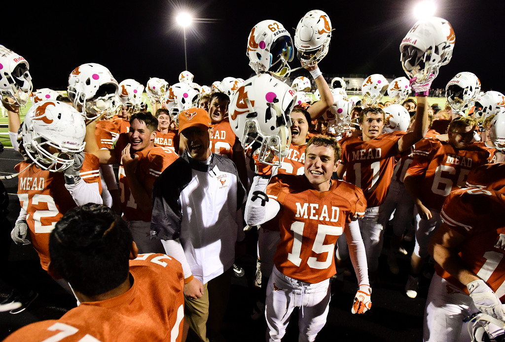 . Mead High School celebrates their victory over Roosevelt High School in Mead, Colorado on Oct. 6, 2017.  (Photo by Matthew Jonas/Times-Call)