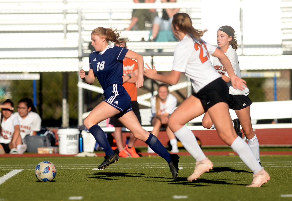 . FREDERICK, CO - APRIL 19, 2019: Frederick High School\'s Shelby Smotzer moves the ball upfield during a game against Mead on Friday in Frederick. More photos: BoCoPrep.com (Photo by Jeremy Papasso/Staff Photographer)