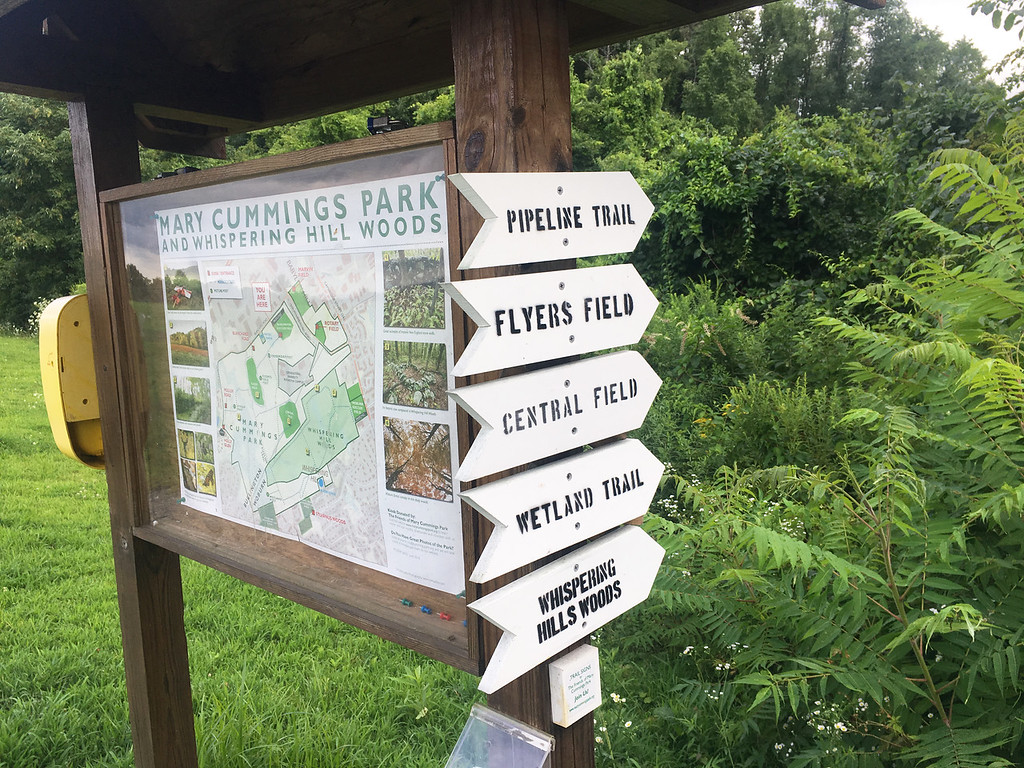 . Trail maps are a helpful tool to have when exploring Mary Cummings Park. Photo by Mary Leach