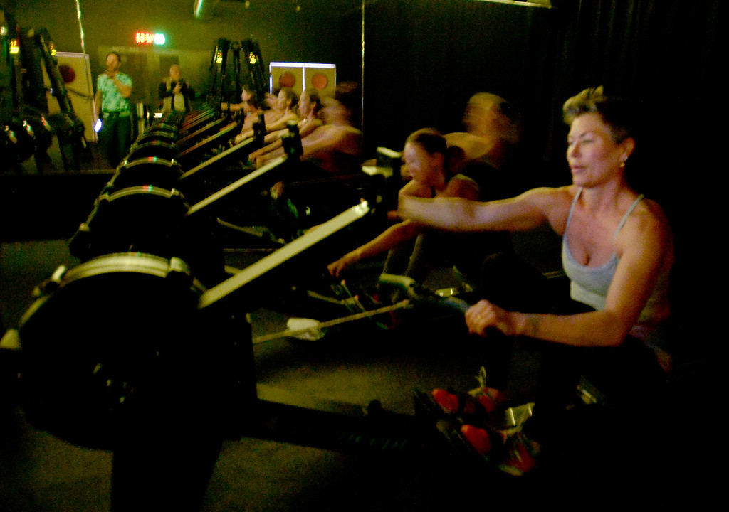 . Justin Gray, left, teaches the ergometer and versa climber in the Mecha workout on Tuesday. Carre Sutton is on the right.  ERGOMETER Mecha uses the Concept 2 Rower in their cardio classes. VERSACLIMBER The VersaClimber combines both lower and upper body motion into one natural vertical climbing exercise.  We use the VersaClimber in our cardio classes. MEGAFORMER Some people liken it to a highly refined Pilates reformer; others think it\'s more like a medieval torture device. There\'s a moving carriage, stationary platforms, handles, variable spring loads, and nearly an infinite number of possible exercises. The Megaformer is the machine we use in our resistance classes. Cliff Grassmick  Staff Photographer March 7, 2017