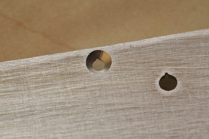 All applicable screw holes are countersunk like this one.