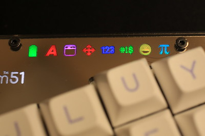 Indicator LEDs. From left to right: battery level, capslock, GUI layer, function layer, number layer, punctuation layer, emoji layer, greek layer.