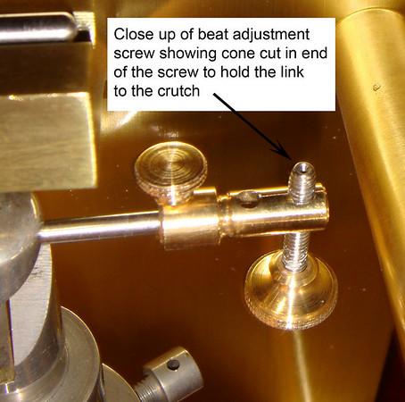 Close up of the beat adjustment screw