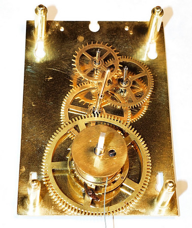 Gears after cleaning.  A classic example of the exquisite mechanisms produced in the mid-nineteenth century in Central Europe